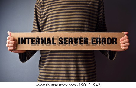 Http Error 500, Server error page concept. Man holding banner with error message. Web technology series. - stock photo