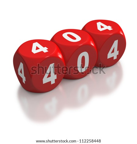 HTTP Not Found error code 404 on red dice or blocks on white background