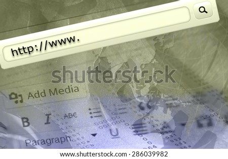 Http www text in browser address bar.  - stock photo