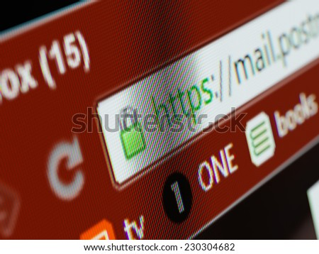 HTTPS secure connection sign in browser address bar on computer display close up - stock photo