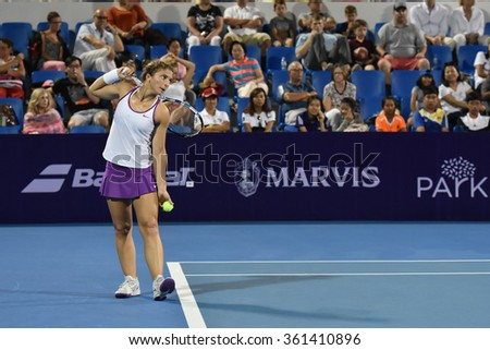 HUA HIN-JAN 1:Sara Errani of Italy in action during a match of WORLD TENNIS THAILAND CHAMPIONSHIP 2016 at Hua Hin Centennial Club on January 1, 2016 in Hua Hin, Thailand - stock photo