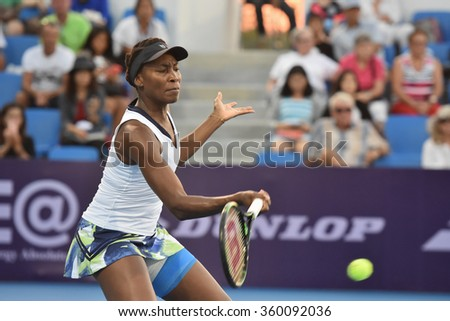 HUA HIN-JAN 1:Venus Williams of United States in action during a match of WORLD TENNIS THAILAND CHAMPIONSHIP 2016 at Hua Hin Centennial Club on January 1, 2016 in Hua Hin, Thailand
