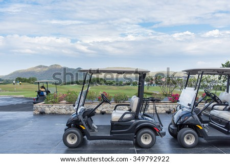 Hua Hin - Prachuap Khiri Khan, Thailand - December 5, 2015 : Golf carts on a Black mountain golf club on december 5, 2015 in Hua Hin - Prachuap Khiri Khan, Thailand.