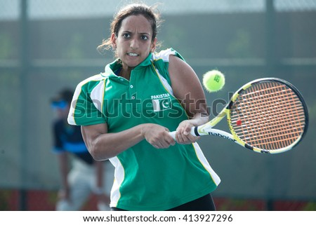 HUA HIN, THAILAND-APRIL 11:Sara Mansoor of Pakistan returns a ball during Day 1 of Fed Cup by BNP Paribas on April 11, 2016 at True Arena Hua Hin in Hua Hin, Thailand