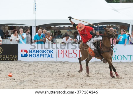 HUA HIN, THAILAND - APRIL 25: Unidentified India Polo Team player in action during 2015 Beach Polo Asia Championship on April 25, 2015 in Hua Hin, Thailand. - stock photo