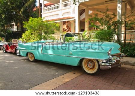 HUA HIN, THAILAND - DEC 15:Cadillac Eldorado vintage cars display in Hua Hin Vintage Cars Parade Festival 2012 at Centara Grand Hotels & Resorts on December 15, 2012 in Hua Hin, Thailand. - stock photo