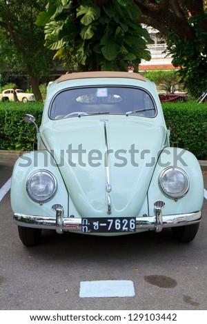 HUA HIN, THAILAND - DEC 15:Volkswagen VW Beetle, vintage cars display in Hua Hin Vintage Cars Parade Festival 2012 at Centara Grand Hotels & Resorts on December 15, 2012 in Hua Hin, Thailand. - stock photo