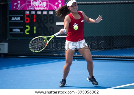 HUA HIN, THAILAND-FEBRUARY 4:Eri Hozumi of Japan returns a ball during Day 2 of Fed Cup by BNP Paribas on February 4, 2016 at True Arena Hua Hin in Hua Hin, Thailand