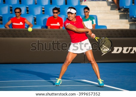HUA HIN, THAILAND-FEBRUARY 6:Kurumi Nara of Japan returns a ball during Day 4 of Fed Cup by BNP Paribas on February 6, 2016 at True Arena Hua Hin in Hua Hin, Thailand