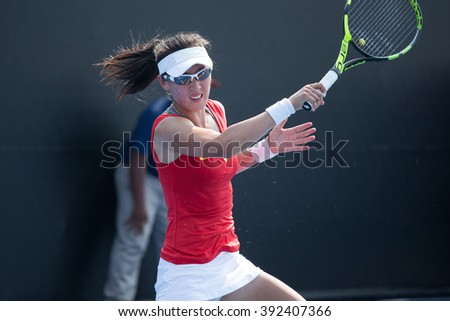 HUA HIN, THAILAND-FEBRUARY 3:Saisai Zheng of China returns a ball during Day 1 of Fed Cup by BNP Paribas on February 3, 2016 at True Arena Hua Hin in Hua Hin, Thailand