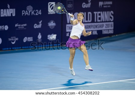 Hua Hin Thailand- Jan1:World No.5 Tennis player Aginieszka Radwanska in World Tennis Thailand Championship 2016 Radwanska had win to Sara Errani 6-1,6-3 on January1,2016 at True Arena Hua Hin,Thailand