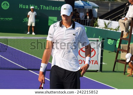 Hua Hin, Thailand - January 2: World tennis Thailand Championship 2015 at Centennial Park, on 31 December- January 2, 2015 at the Hua Hin, Thailand. John Isner is ranked 18th in the world.