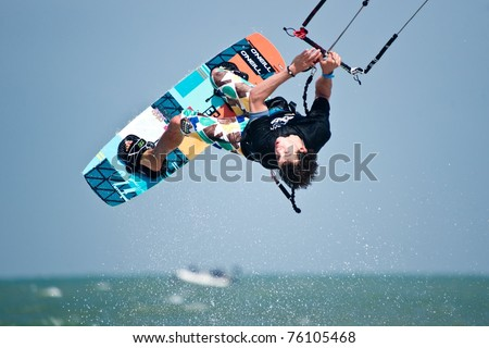 HUA HIN THAILAND - MARCH 18: Freestyle rider Stefan Spiessberger of Austria practices to compete in 2011 Hua Hin Kiteboard World Cup, held from March 18, 2011 at Hua Hin Beach in Hua Hin, Thailand