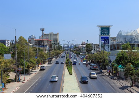 Hua Hin, Thailand - March 21, 2016: Phetkasem Road pass through Hua Hin city. This road is main route to southern part of Thailand.