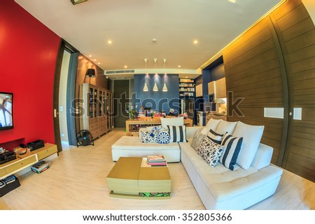 HUA HIN, THAILAND - OCT 23: Living room of Happen to be hotel at Hua Hin on Oct 23, 2015 in Hua Hin. It's provide private butler services to the room.