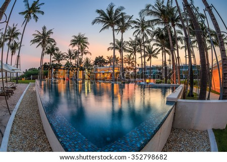 HUA HIN, THAILAND - OCT 23: Pool beach of Ocas Hua Hin hotel at Hua Hin on Oct 23, 2015 in Hua Hin. It's a luxurious hotels, with the modern design.