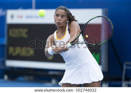 HUA HIN, THAILAND-OCTOBER 21:Natalija Kostic of Serbia returns a ball during Day 5 of ITF Thailand Women's Pro Circuit on October 21, 2016 at True Arena Hua Hin in Hua Hin, Thailand