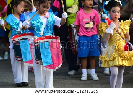 HUA HIN, THAILAND - SEPTEMBER 07 - Unidentified children parade in Preschool Sport day in Hua Hin -  on September 07, 2012 in Hua Hin, Thailand