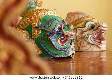Hua Khon (Thai Traditional Mask) Used in Khon - Thai traditional dance of the Ramayana Epic Saga - stock photo