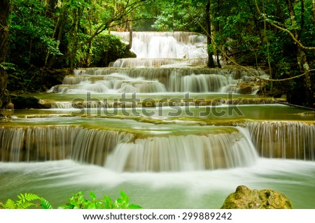 Hua Mae Kamin Water fall kanchanaburi thailand - stock photo