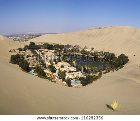 Huacachina oasis in Ica desert, Peru. - stock photo