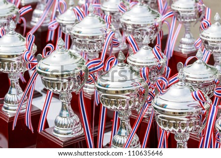 HUAHIN, THAILAND-AUG 19: Medal of the winner in Queen's cup HuaHin International Triathlon 2012-near Kao Tao lake on Agust 19,2012 - stock photo