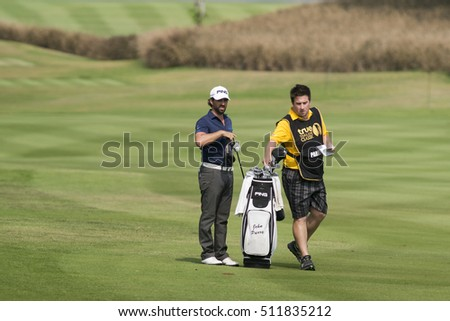 HUAHIN, THAILAND-FEBRUARY 13: John Parry of England and caddy during Round 2 of 2015 True Thailand Classic on February 13, 2015 at Black Mountain Golf Club in Hua Hin, Thailand