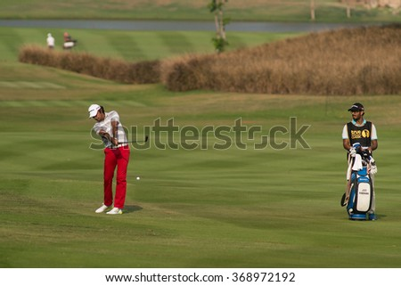 HUAHIN, THAILAND-FEBRUARY 12: Jyoti Randhawa of India in action during Round 1 of 2015 True Thailand Classic on February 12, 2015 at Black Mountain Golf Club in Hua Hin, Thailand - stock photo