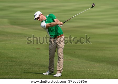 HUAHIN, THAILAND-FEBRUARY 12: Kalem Richardson of Australia in action during Round 1 of 2015 True Thailand Classic on February 12, 2015 at Black Mountain Golf Club in Hua Hin, Thailand