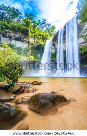 Huai Luang Waterfall at Ubon Ratchathani in Thailand Asia - stock photo