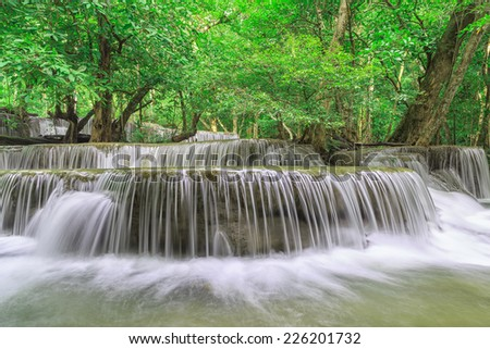 Huai Mae Khamin  Fresh Waterfall in forest in national park, Thailand