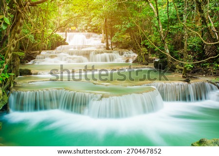 Huai Mae Khamin waterfall in tropical forest in national park, Thailand  - stock photo