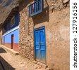 HUANCAYA -LIMA- PERU: Rustic doors in Huancaya andean little town. - stock photo