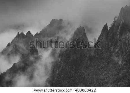 Huangshan Mountain in east China's Anhui province is one of Chinas ten best-known scenic spots  - stock photo