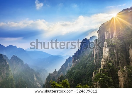 Huangshan (Yellow Mountains), a mountain range in southern Anhui province in eastern China. It is a UNESCO World Heritage Site, and one of China's major tourist destinations. - stock photo