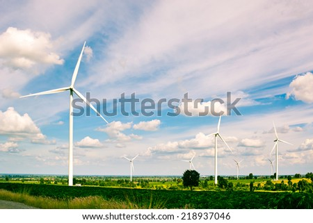 Huay Bong wind turbine farm for generate electricity, renewable energy, Thailand - stock photo