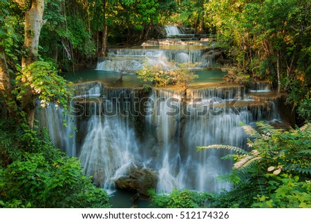 Huay Mae Kamin Waterfall, beautiful waterfall in Thailand