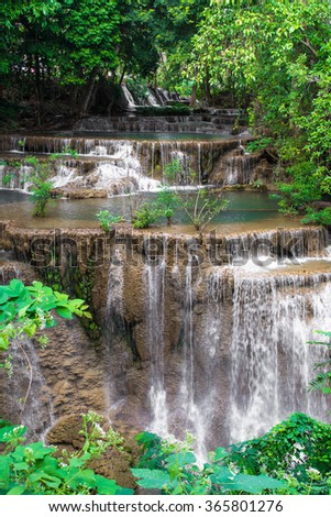 Huay Mae Kamin Waterfall in Khuean Srinagarindra National Park, Kanchanaburi Province. Thailand - stock photo