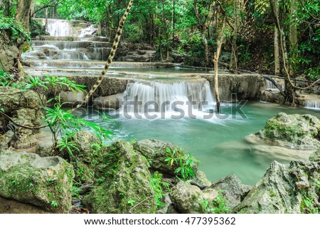 Huay Mae Khamin, Waterfall located in deep forest of Kanchanaburi Thailand