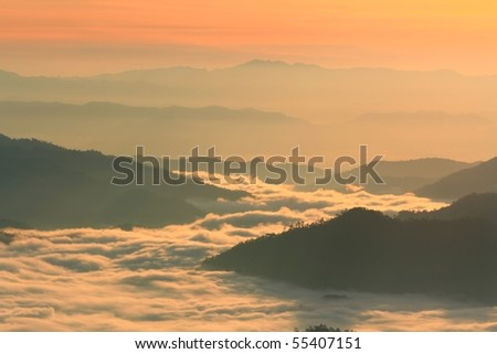 Huay Nam Dung. Beutiful Sunrise with sea of mist in the Northern of Thailand - stock photo
