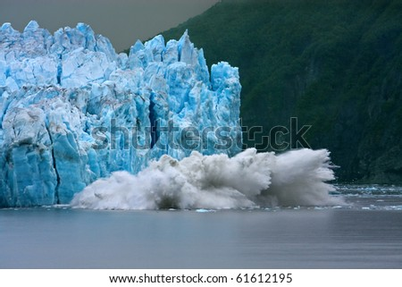 Hubbard Glacier calving - longest tidewater glacier in Alaska - stock photo