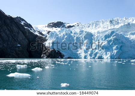 Hubbard glacier in Alaska USA - stock photo