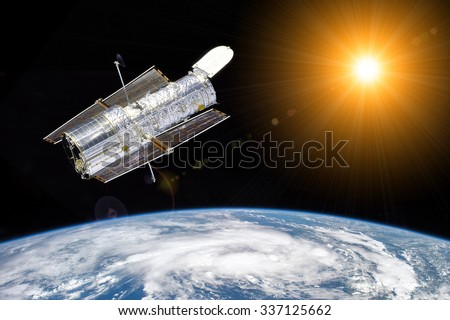 Hubble telescope observe the sun - Elements of this image furnished by NASA - stock photo