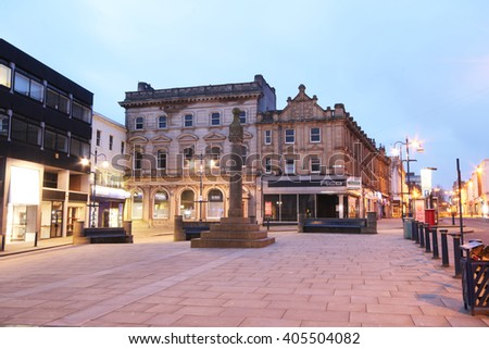 HUDDERSFIELD, UK - APRIL 14, 2016: Town square. Huddersfield  is a large market town and the largest settlement in the metropolitan borough of Kirklees, West Yorkshire, - stock photo