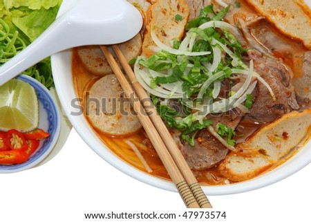 Hue Beef and Pork Rice Vermicelli with vegetable - stock photo
