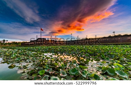 Hue Flagstaff in Hue City Vietnam , 14 June 2016 : Amazing sunrise in Hue Flagstaff with lotus lake in Hue City, Most Famous City for travel in Vietnam, Vietnam Unesco World Heritage Site