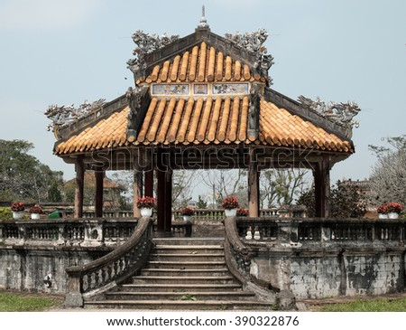 HUE, VIET NAM- FEB 19, 2016: Citadel, an culture heritage with Hoang Thanh (Imperial City),Tu Cam Thanh (Forbidden City), Dai Noi (Inner city), ngo mon (noon gate), ancient architecture in Vietnam