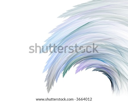 Hues of blue form a wispy wave design (computer generated, fractal abstract background)