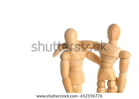 Hug Wood Mannequin Concept on isolate white background.