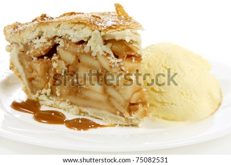 huge apple pie and icecream with icing sugar - stock photo